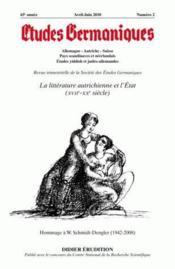 Revue Etudes Germaniques N.258 ; La Littérature Autrichienne Et L'Etat (Xviie - Xxe Siècle) - Couverture - Format classique