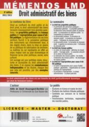 Droit administratif des biens (8e édition) - 4ème de couverture - Format classique