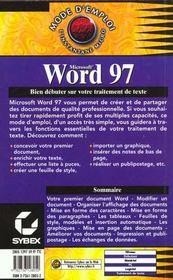 Mode d'emploi : word 97 - 4ème de couverture - Format classique