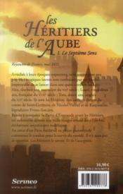 Les héritiers de l'aube t.1 ; le septième sens - 4ème de couverture - Format classique