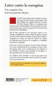 Lutter contre la corruption ; naissance d'un contre-pouvoir citoyen en France - 4ème de couverture - Format classique