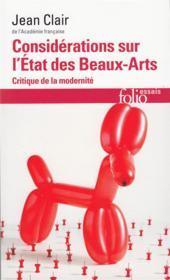 Considérations sur l'état des beaux-arts ; critique de la modernité - Couverture - Format classique