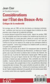 Considérations sur l'état des beaux-arts ; critique de la modernité - 4ème de couverture - Format classique