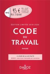 Code du travail (édition 2019/2020) - Couverture - Format classique