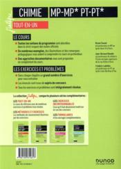 Chimie ; MP/MP*; PT/PT* ; tout-en-un (5e édition) - 4ème de couverture - Format classique
