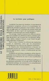 Le Territoire Pour Politiques ; Variations Europeennes - 4ème de couverture - Format classique