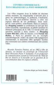 Centres Commerciaux : Iles Urbaines De La Post-Modernite - 4ème de couverture - Format classique