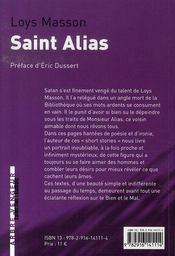 Saint alias - 4ème de couverture - Format classique
