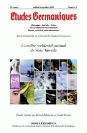 Revue Etudes Germaniques N.3 ; L'Oreiller Occidental-Oriental De Yoko Tawada - Couverture - Format classique