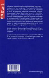 Introduction historique au droit XIIIe-XXe siècle (3e édition) - 4ème de couverture - Format classique