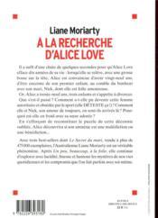 À la recherche d'Alice Love - 4ème de couverture - Format classique