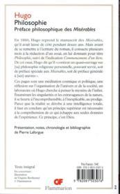 Philosophie ; préface philosophique des Misérables - 4ème de couverture - Format classique