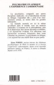 Psychiatrie en Afrique ; l'expérience camerounaise - 4ème de couverture - Format classique