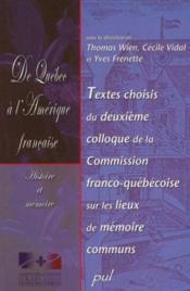 De quebec a l'amerique francaise - Couverture - Format classique