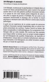 Anorexie et art-thérapie ; une pratique en équipe pluridisciplinaire - 4ème de couverture - Format classique