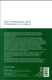 Droit international privé patrimonial de la famille - 4ème de couverture - Format classique