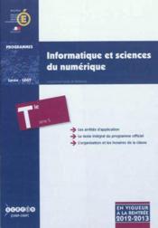Informatique Et Sciences Du Numerique - Terminale Serie S - Couverture - Format classique
