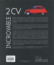 Incroyable 2 CV ! - 4ème de couverture - Format classique