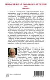Histoire de la CGT-Force Ouvrière ; 1895-1947-2017 - 4ème de couverture - Format classique