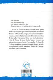 Bureau de tabac et autres poèmes d'Alvaro de Campos - 4ème de couverture - Format classique