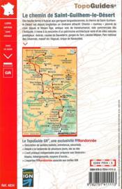 Le chemin de Saint-Guilhem-le-Désert ; Lozère, Aveyron, Gard, Hérault : GR 7 - 4ème de couverture - Format classique