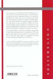 Droit Du Credit - 4ème de couverture - Format classique