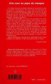 Une Cour Au Pays Du Masque - 4ème de couverture - Format classique