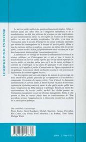 Le Service Public En Devenir - 4ème de couverture - Format classique