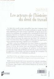 Les acteurs de l'histoire du droit du travail - 4ème de couverture - Format classique