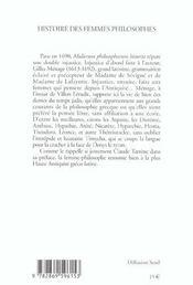 Histoire Des Femmes Philosophes De L'Antiquite - 4ème de couverture - Format classique
