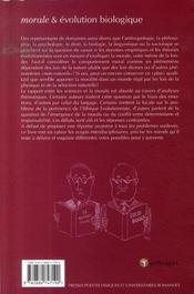 Morale et évolution biologique ; entre déterminisme et liberté - 4ème de couverture - Format classique
