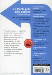 Le parti pris des choses, de Francis Ponge - 4ème de couverture - Format classique