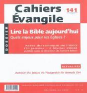 Cahiers evangile - numero 141 septembre 2007 lire la bible aujourd'hui - Couverture - Format classique