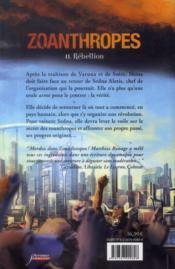Zoanthropes t.2 ; rébellion - 4ème de couverture - Format classique