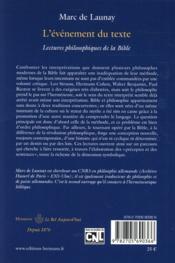 L'evenement du texte - lectures philosophiques de la bible, volume 2 - 4ème de couverture - Format classique