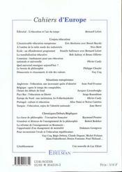 Cahiers D'Europe N.4 - 4ème de couverture - Format classique