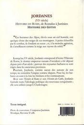Histoire de Rome de Romulus à Justinien ; l'histoire des goths - 4ème de couverture - Format classique