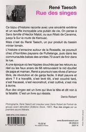 Rue des singes - 4ème de couverture - Format classique