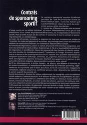 Contrats de sponsoring sportif - 4ème de couverture - Format classique