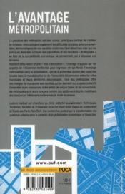 L'avantage métropolitain - 4ème de couverture - Format classique
