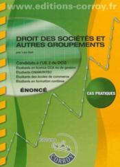 Droit Des Societes Et Autres Groupements Enonce - Ue 2 Du Dcg. Cas Pratiques - Couverture - Format classique