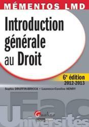Introduction générale au droit (6e éditon) - Couverture - Format classique
