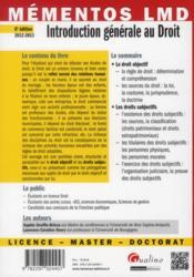 Introduction générale au droit (6e éditon) - 4ème de couverture - Format classique