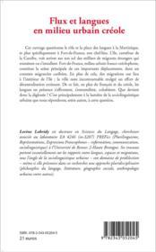 Flux et langues en milieu urbain créole ; étude de sociolinguistique urbaine à Fort de France - 4ème de couverture - Format classique