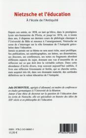 Nietzsche et l'éducation ; à l'école de l'antiquité - 4ème de couverture - Format classique