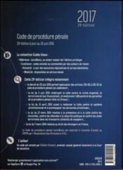 Code de procédure pénale (édition 2017) - 4ème de couverture - Format classique