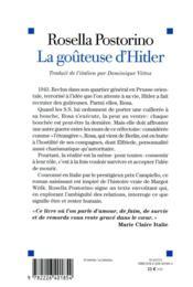 La goûteuse d'Hitler - 4ème de couverture - Format classique