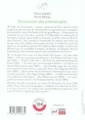 Dictionnaire des onomatopées - 4ème de couverture - Format classique