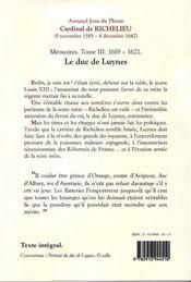 Richelieu ; mémoires t.3 ; (1619-1621) le duc de Luynes - 4ème de couverture - Format classique