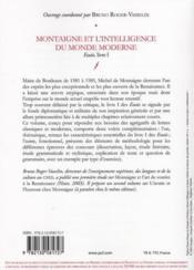 Montaigne et l'intelligence du monde moderne ; essais t.1 - 4ème de couverture - Format classique